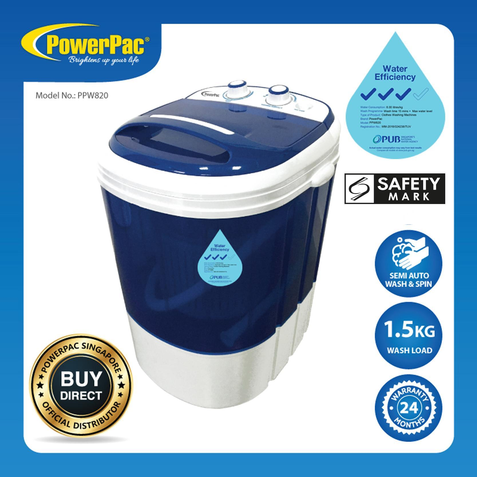 Powerpac 2in1 Mini Washing Machine - 15 Mins Fast Laundry (ppw820) By Powerpac.