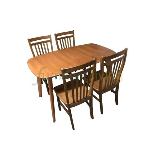 Furniture Living 1+4 / 1+6 Extendable Wooden Dining Set (Cherry/Walnut)