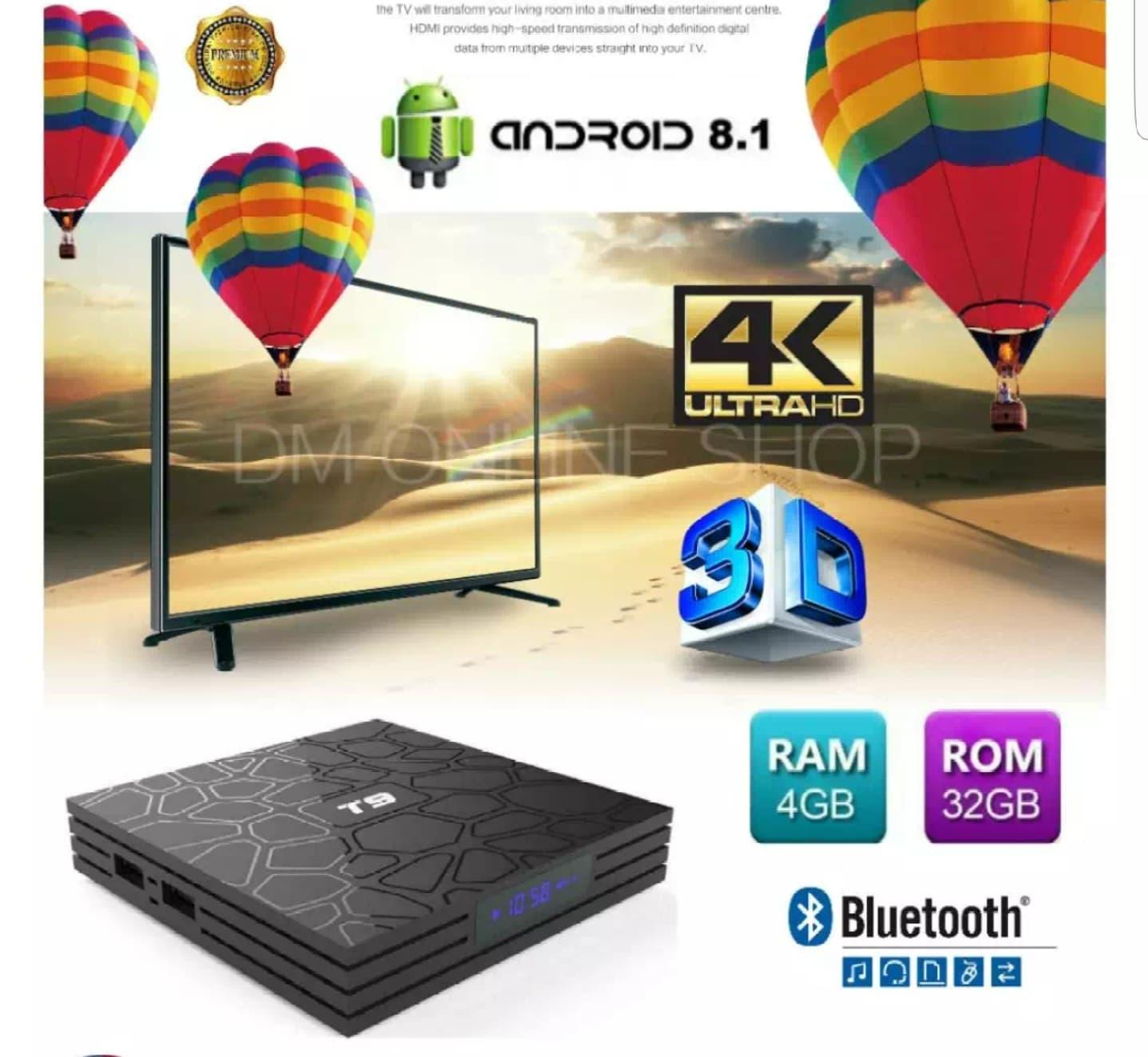 (preinstall 3000 Famous Live Channel+latestapp) 4gb+32gb T9 Smart Tv Box Android Box Iptv Mini Tvbox By Sjs1688.