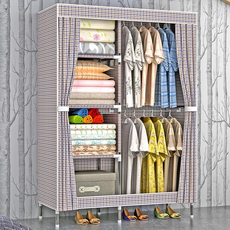 Shome nuo Large Size Cloth Wardrobe Steel Pipe Rough Reinforced 19 Mm Simple Wardrobe Oxford Cloth Assembly Closet Single Person