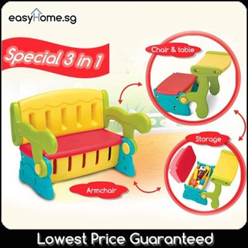 Purchase 3 In 1 Kids Table Chair Storage Children Shelf Box Rack Dining Study Table Bench