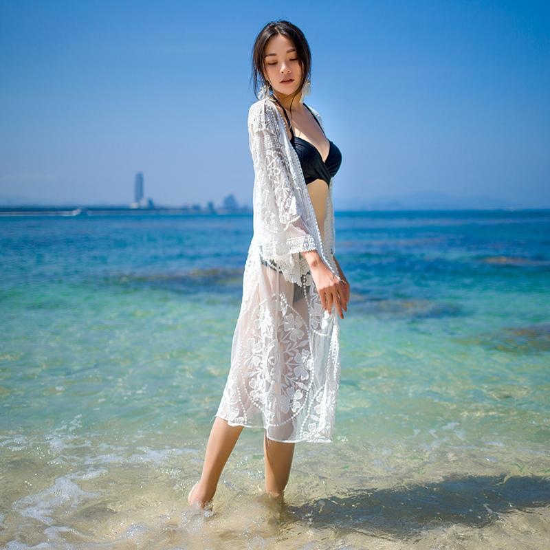 Long Beach Cardigan Sexy Lace Maldives Seaside Holiday Bikini Coat Bathing Suit Blouse Beach Skirt