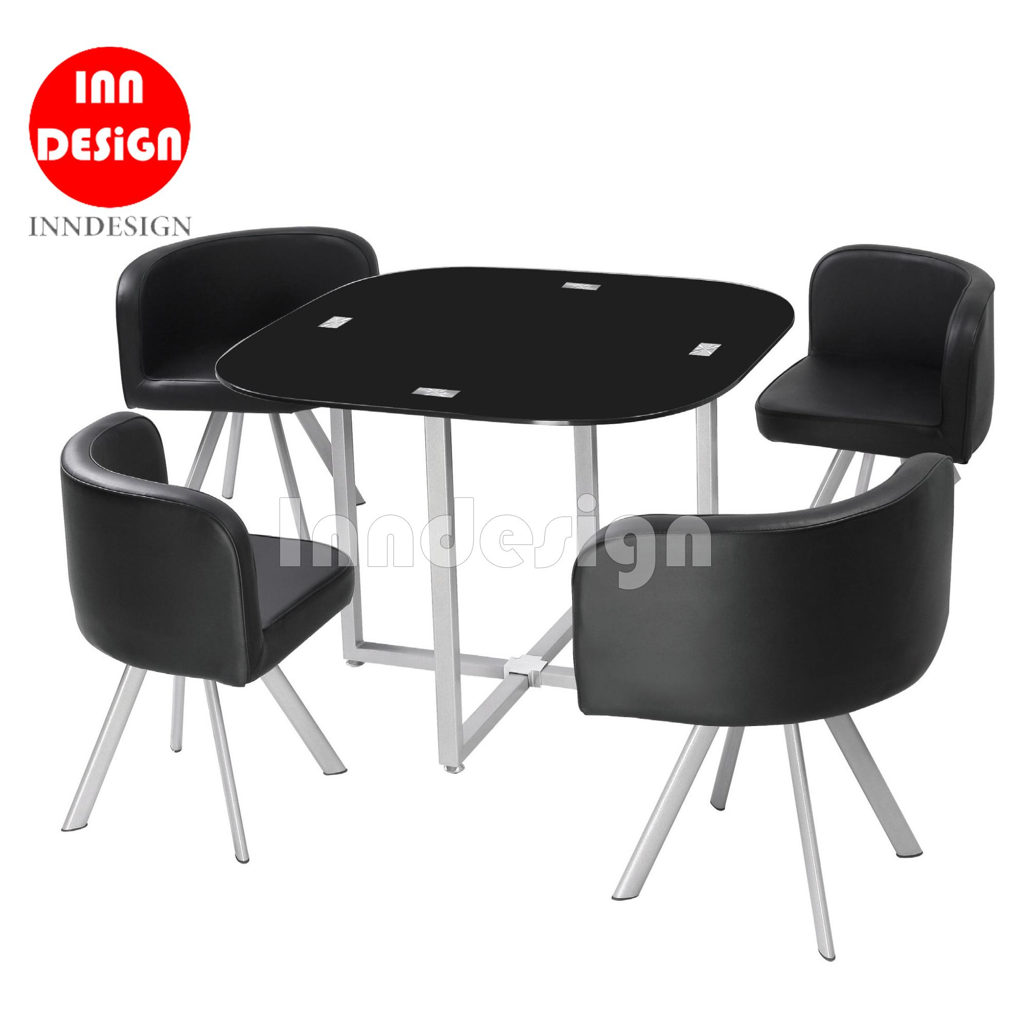 Kiav 1+4 Tampered Glass Dining Table Set (PU Leather Seat and Silver Leg)