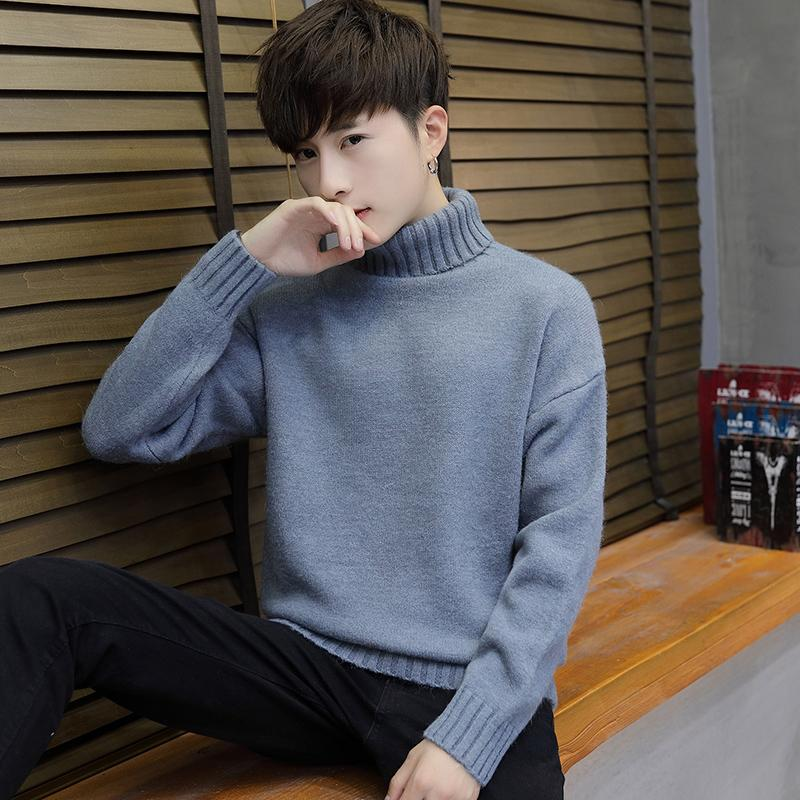 Winter Men High Collar Sweater Mens Wear Slim Fit Handsome Korean Style Slim Fit Style Male Students Pullover Knitting Shirt Coat Fashion By Taobao Collection.