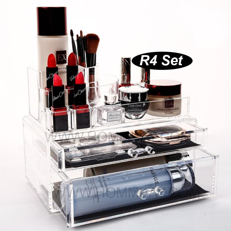 RR4 I Clear Acrylic Transparent Make Up Makeup Lipstick Brush Brushes Cosmetic Jewellery Jewelry Organiser Organizer Drawer Storage Box Holder I Large I Stackable
