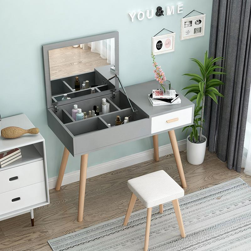 Fold Down Mirror Dressing Makeup Table With Chair - 80cm