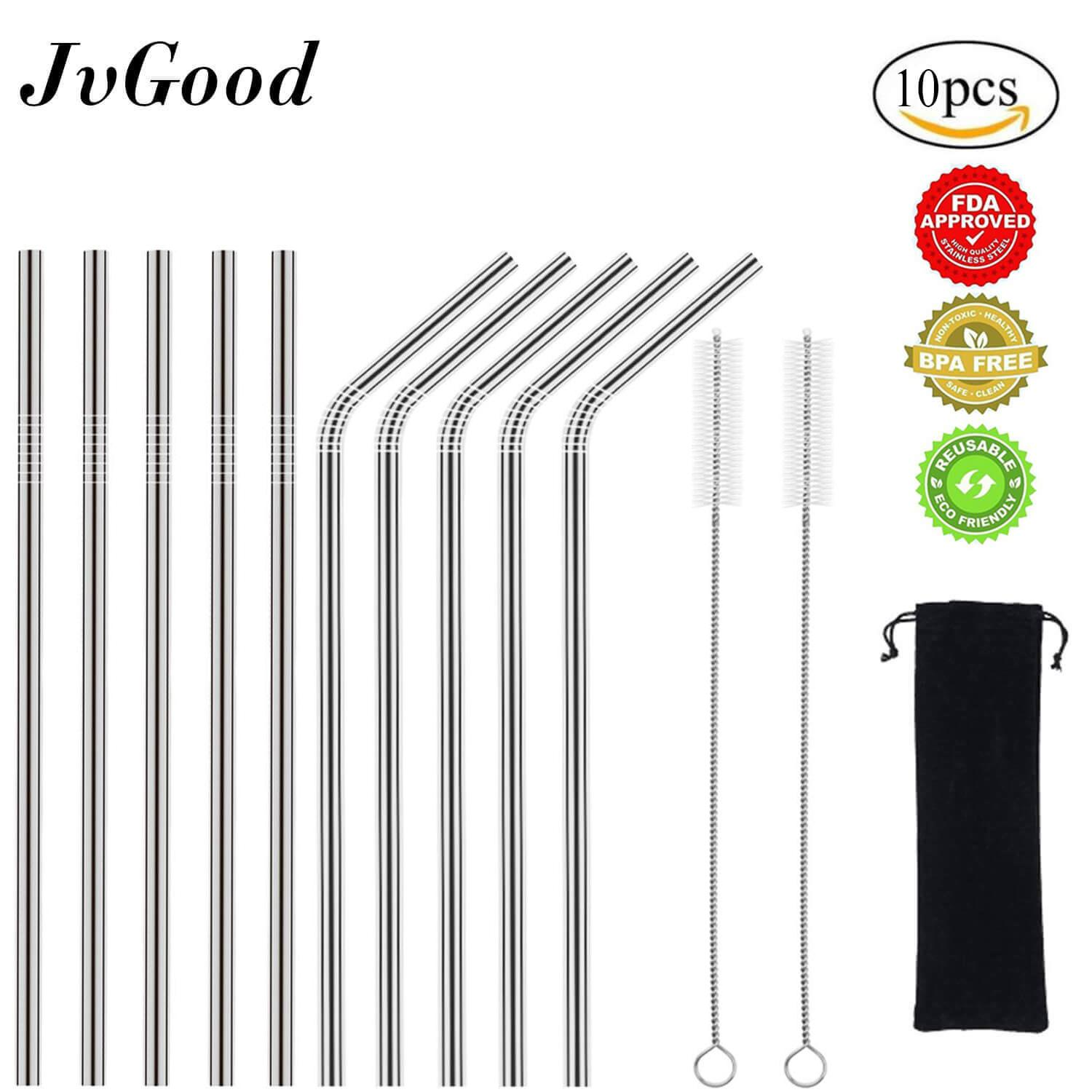 Kitchen, Dining & Bar Provided 10pcs Drinking Straws Reusable Smoothie Straws & 3 Cleaning Brushes