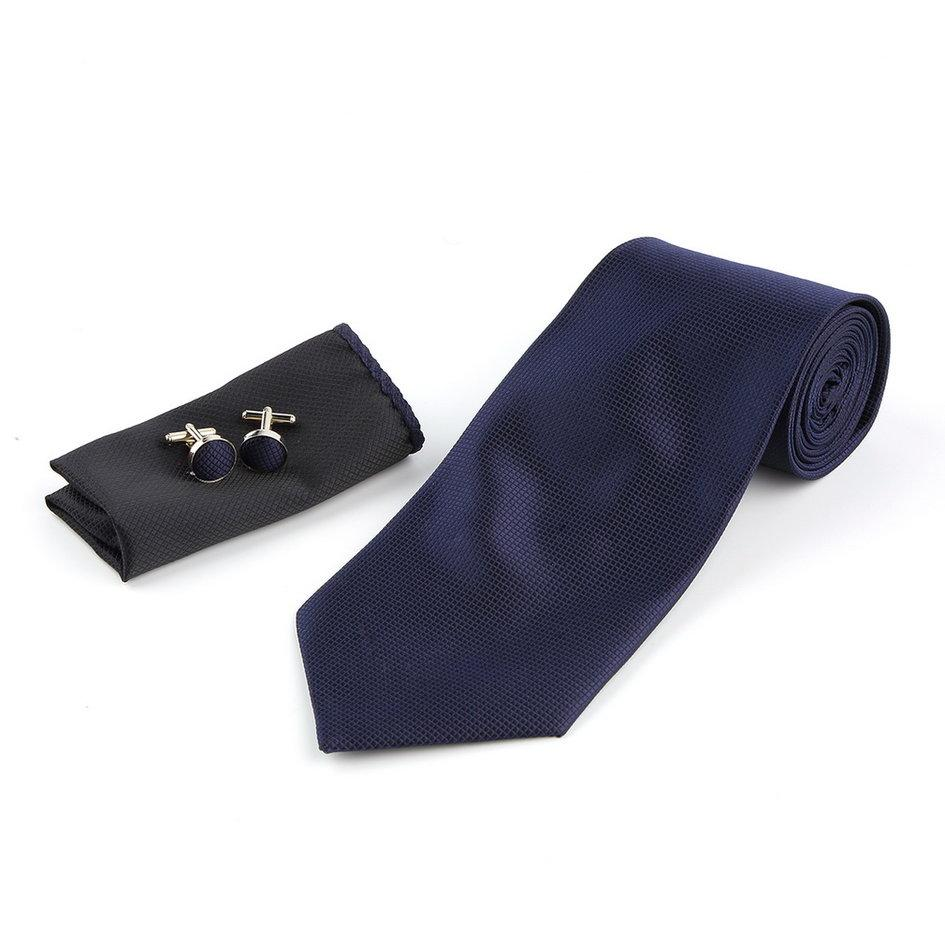 5edf94a8af0e Solid Series Tie Necktie Mens Tie Party Tie Hanky Cufflink Set Classic Dark  Blue