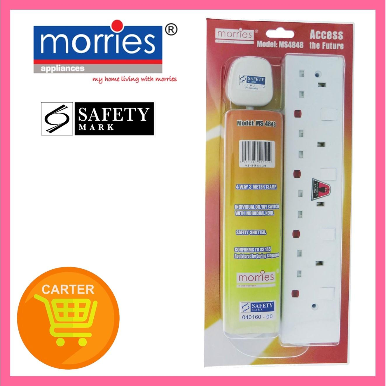 Morries 3M 4-Way 13A Extension Cord Ms 4848 N4