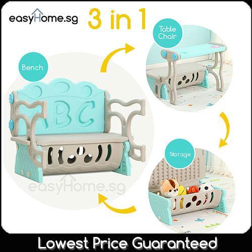 3 in 1 Kids Table Chair Storage B/ C (Children Shelf Box Rack Dining Study Table Bench)