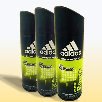 [3 Deodorants] Adidas Men Pure Game 24 Hours Deodorant Body Spray 150ML