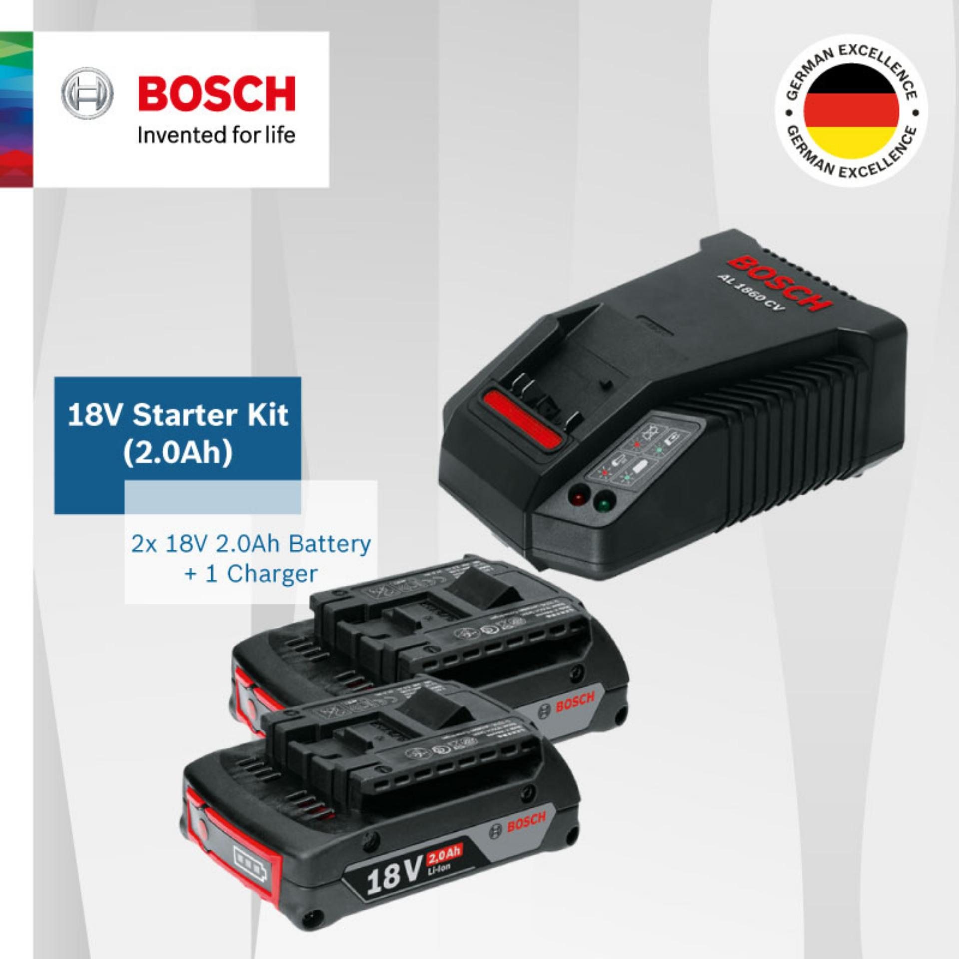 Buy Bosch 18V 2 0Ah Starter Kit Come With 2 X Li Ion 18V Batteries And 1 X Charger Al1860Cv Fast Charge Up To 75 Within 15 Min Online Singapore