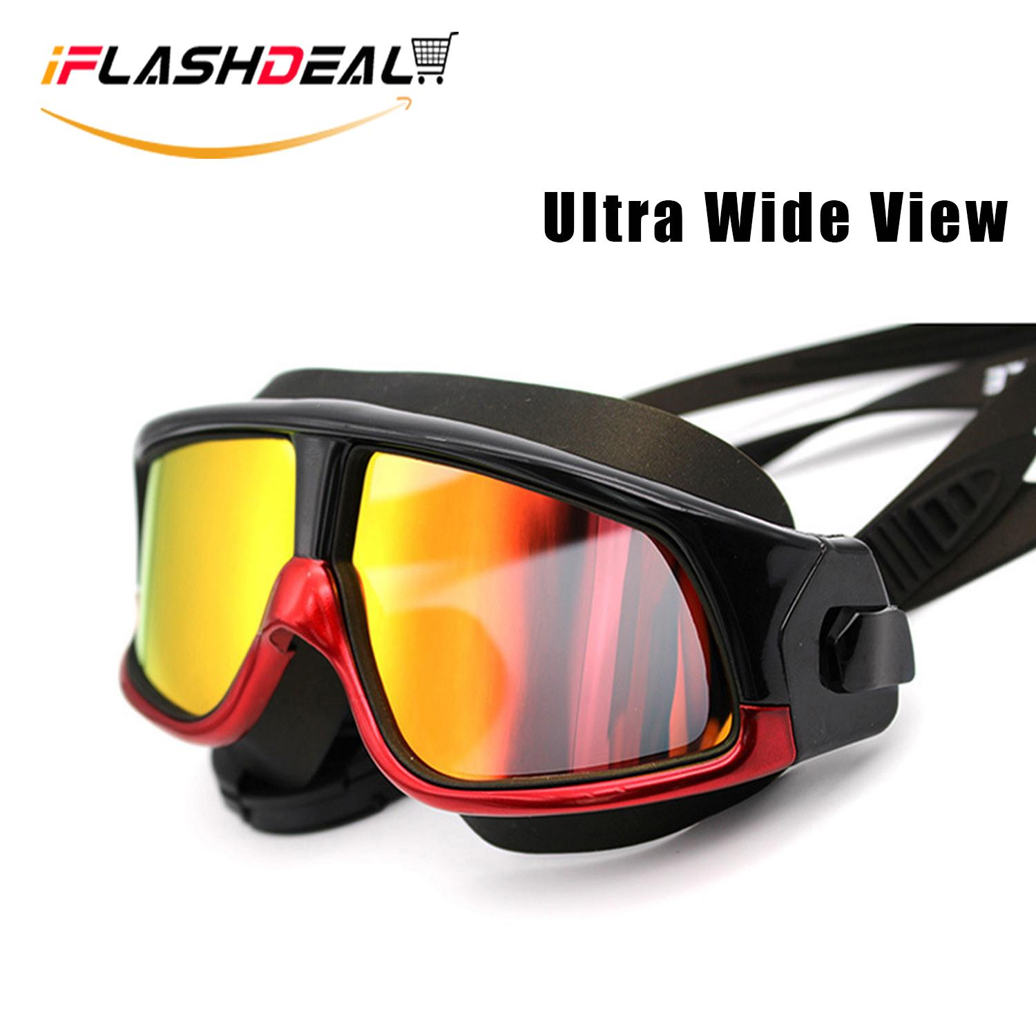 a17f98b5a55 iFlashDeal Large Frame Swim Goggles Colorful Swimming Glasses with  Anti-Fog