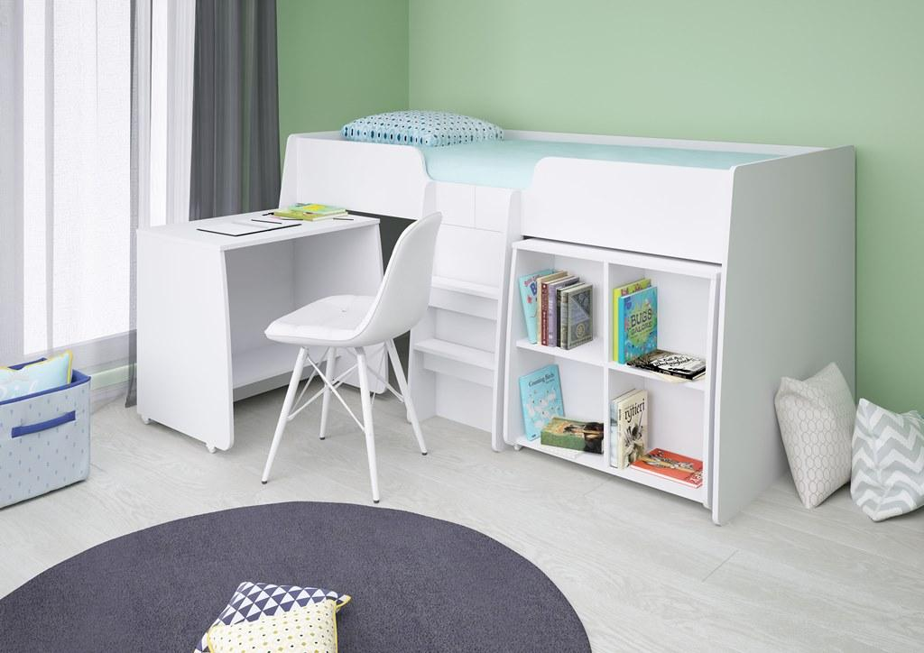 Polini Simple 4100 Low Loft Bed With Bookshelves And Desk