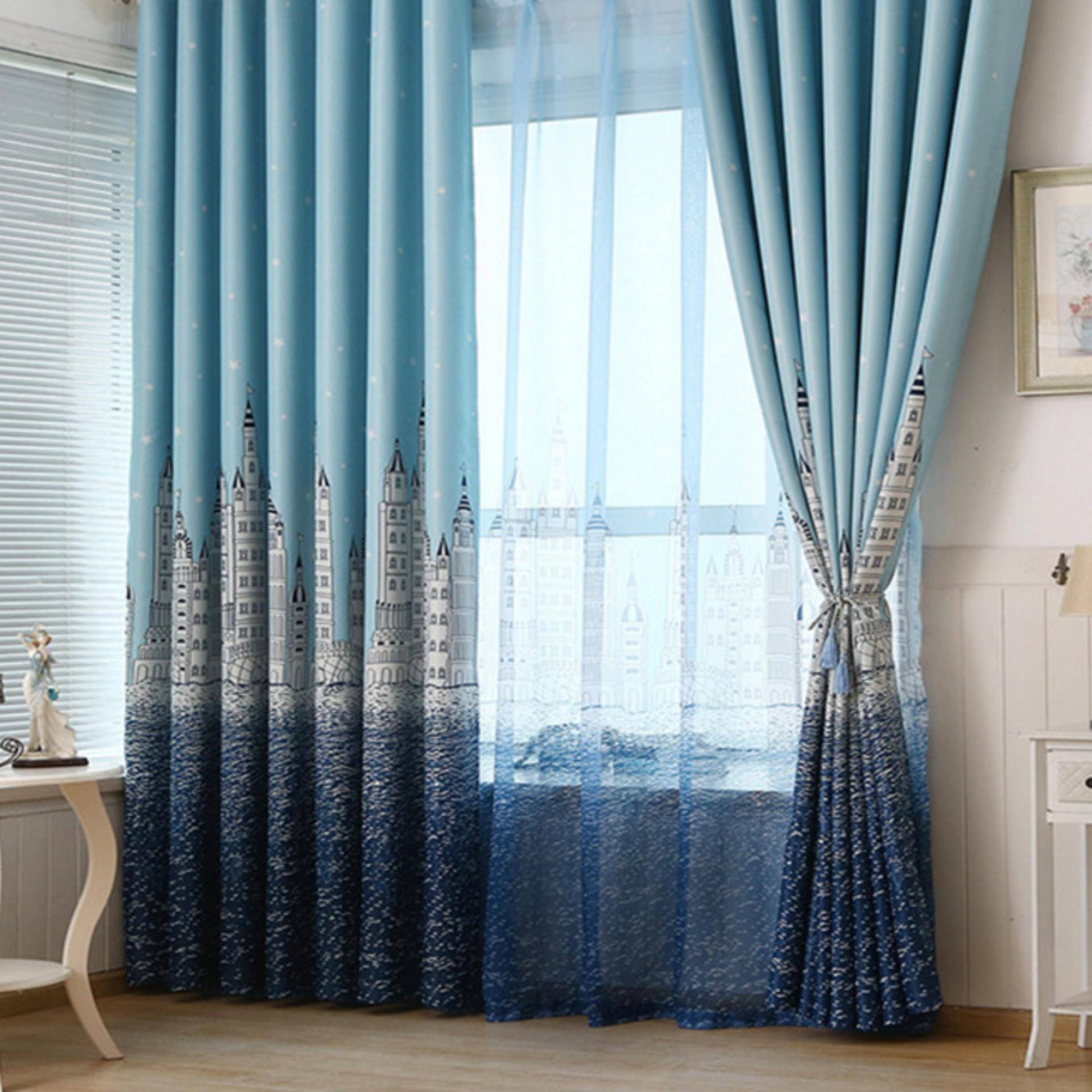 [OrangeHome] British Country Living Room Bedroom Balcony Panel Divider Curtains Drape Sky Blue 100*250 (hook free) (1 pcs) - intl