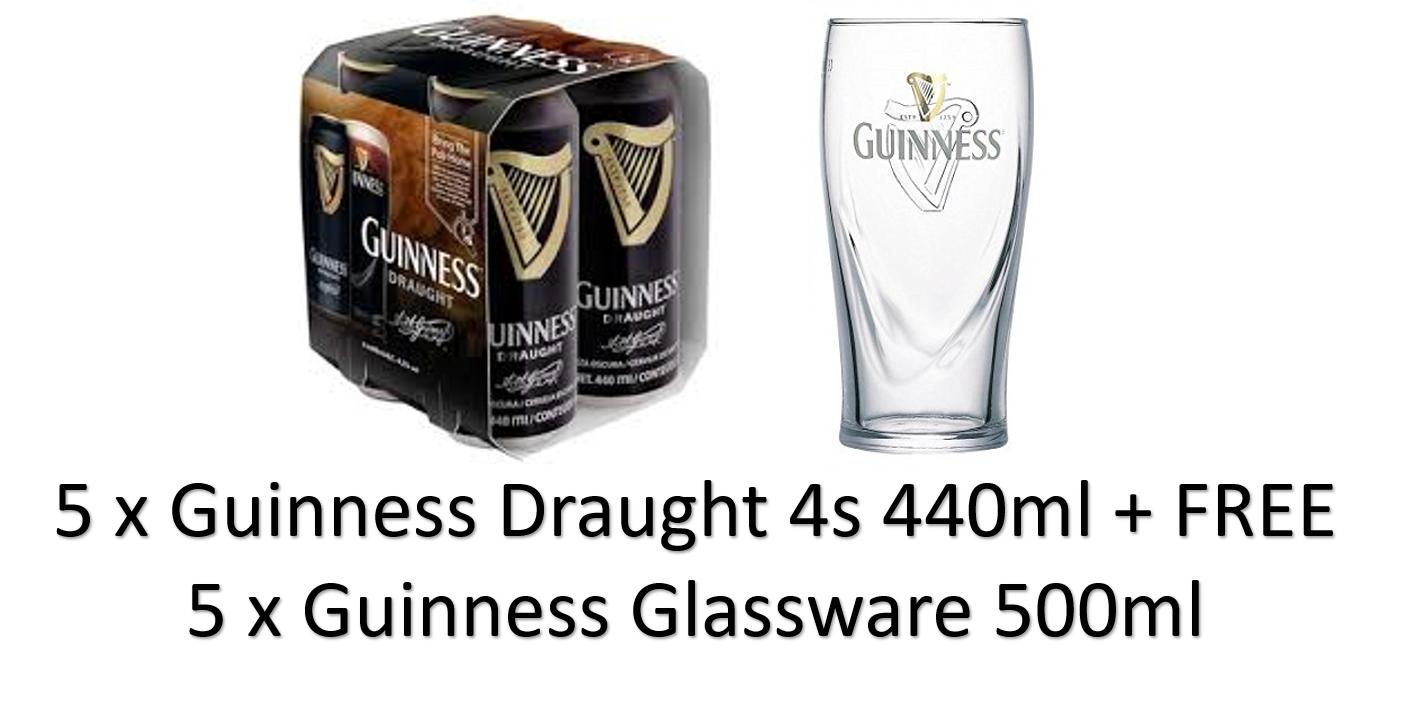 Cheapest Special Bundle 5 X Guinness Draught 4S 440Ml Free 4 Guinness Glassware 500Ml