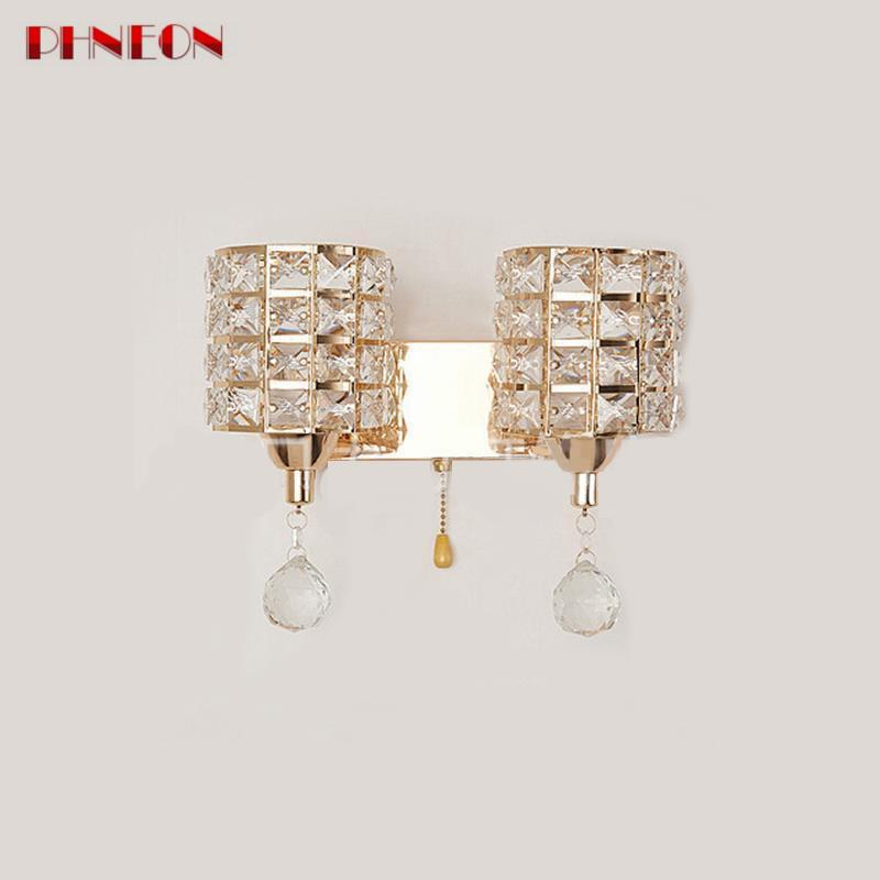 PHNEON Ac85-265v Pull Chain Switch Crystal Wall Lamp Lights Modern Zipper Stainless Steel Base Lighting Wall Sconces Lamparas De Pared