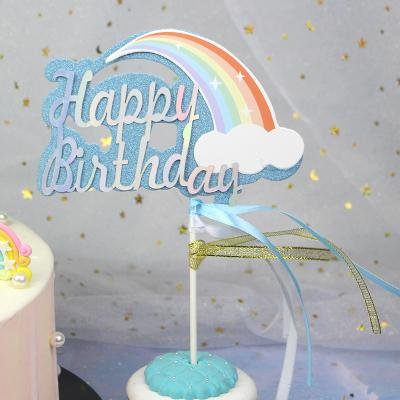 Happy Birthday Rainbow Cake Topper Set With Butterflies Cake Decoration By Happy Market.
