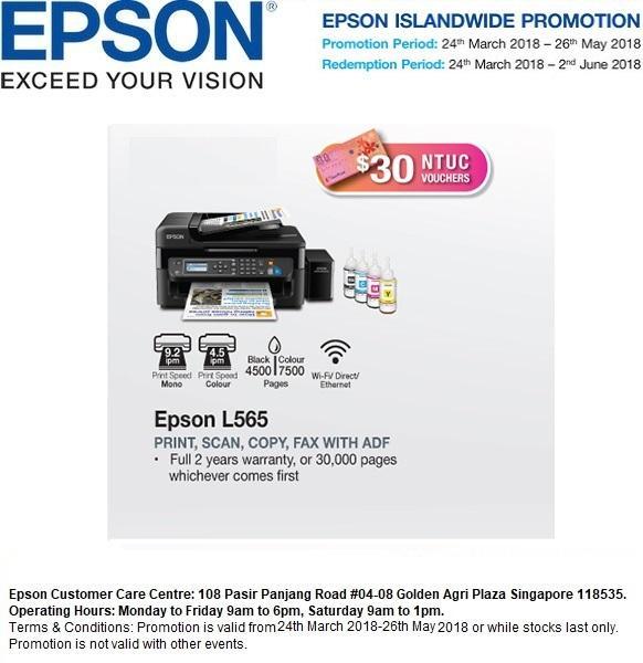 [Singapore Warranty] Epson L565 Wi-Fi All-in-One Ink Tank Printer Epson 565  L 565 Singapore