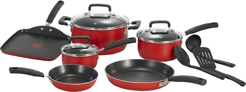 T-fal Signature Nonstick Expert Thermo-Spot Heat Indicator Dishwasher Safe Cookware Set, 12-Piece, RED Singapore