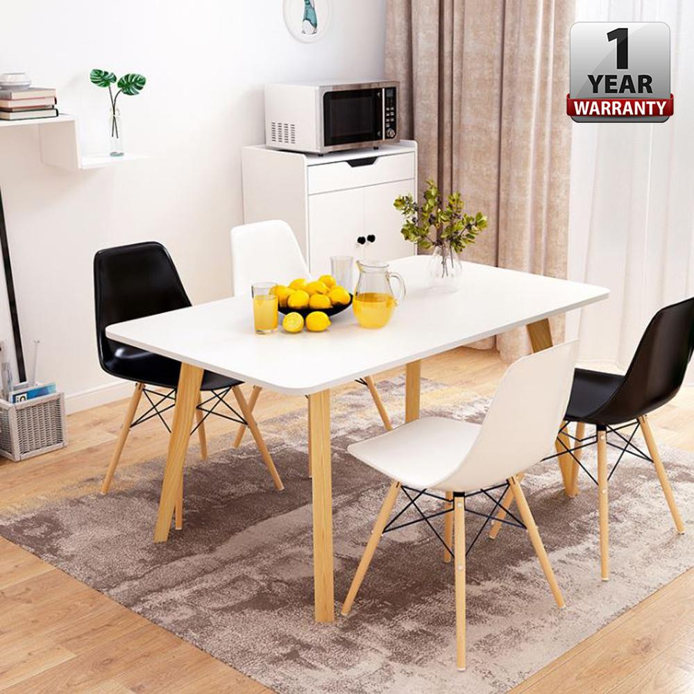 ALFARO [140 x 70 cm] Creative Dining Table Set With Hevea Melamine Board and 4 Eames Chairs Without Armrest