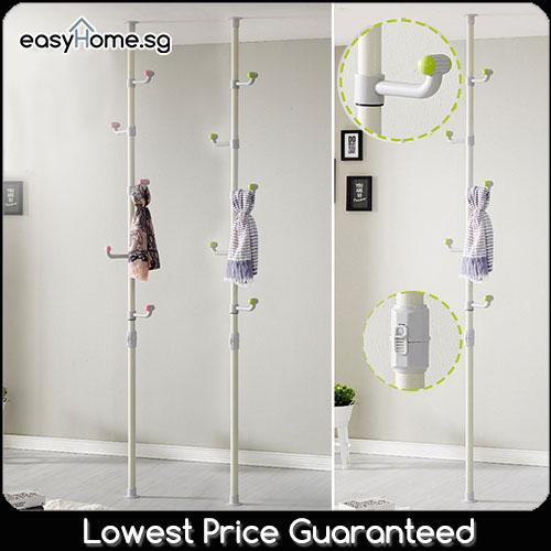 3801 Korean Standing Pole Clothes Rack - Coat Stand Hanger Closet Wardrobe