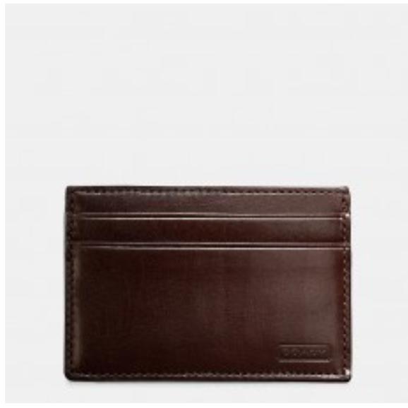 COACH MEN'S WATER BUFFALO SLIM CARD CASE WALLET ID F74014 (MAHOGANY)