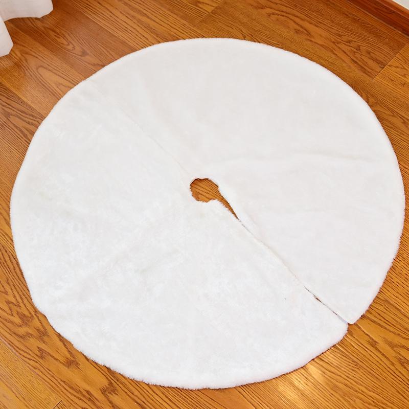 Happy. White Nap Christmas Tree Skirt Apron Christmas Blanket Bottom Case Supplies Christmas Ornaments