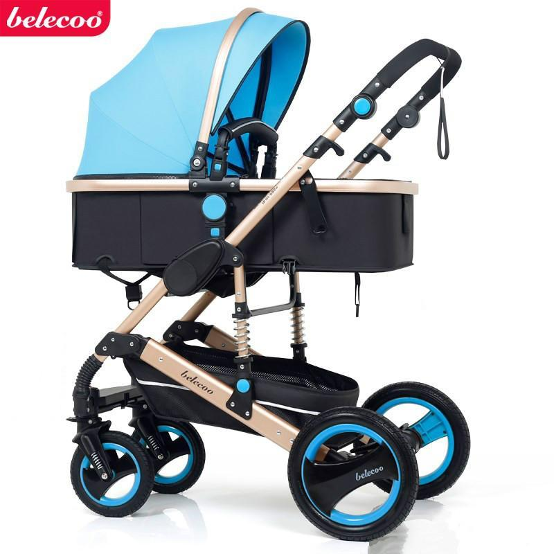 Belecoo stroller can sit and fold two-way four-wheel shock absorber baby stroller-intl Singapore