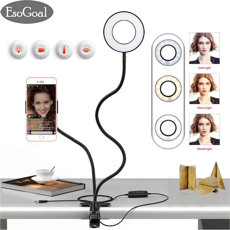 Esogoal Phone Camera Flash Light, Selfie Ring Light With Cell Phone Holder Stand For Live Stream / Makeup, Clip Lazy Bracket For Cellphone, [3-Light Mode] [10-Level Brightness] Led Desk Lamp For Kitchen, Bedroom By Esogoal.
