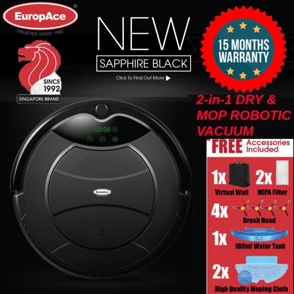 *NEW LAUNCH* EuropAce Robotic Vacuum Cleaner (Wet and Dry) SAPPHIRE BLACK 1200PA -15 MONTHS WARRANTY Singapore