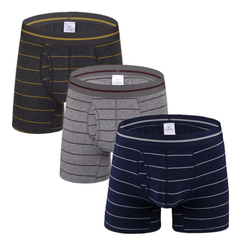 7af2a0eed730ff 3 Pcs /lot Men's Cotton Boxers Stripe Shorts with Man Underwear Boxer Sport