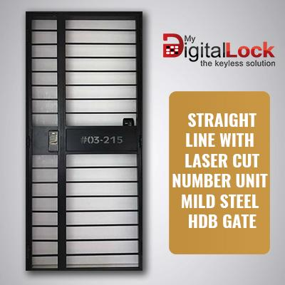 STRAIGHT LINE WITH LASER CUT UNIT NUMBER MILD STEEL HDB GATE (3 x 7)