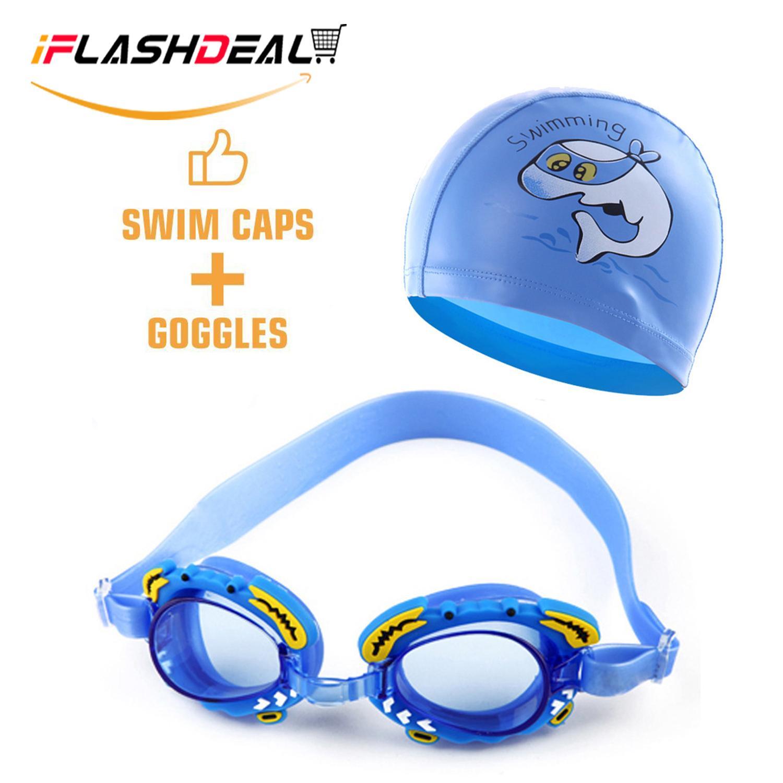 97c1c8f84bdb iFlashDeal Kids Swimming Goggles Swim Hat Cap Child (Age 4-12) Waterproof  Swim