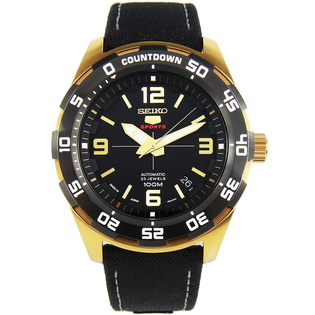Seiko 5 Sports Automatic Japan Made Mens Black Leather Strap Watch SRPB86 SRPB86J SRPB86J1