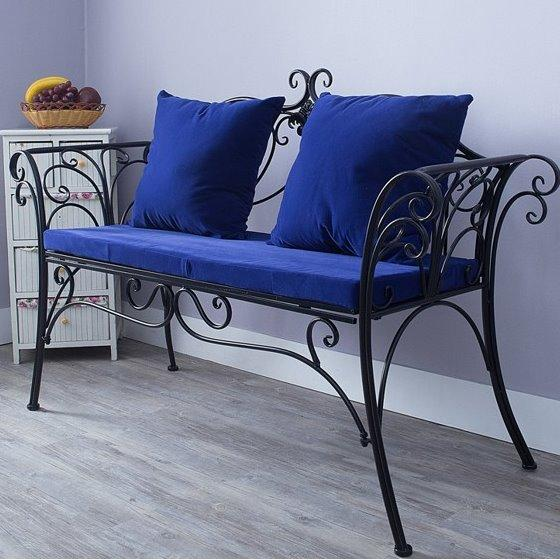 Stylish Wrought Iron Cushion Outdoor Bench By Diycottage4u.