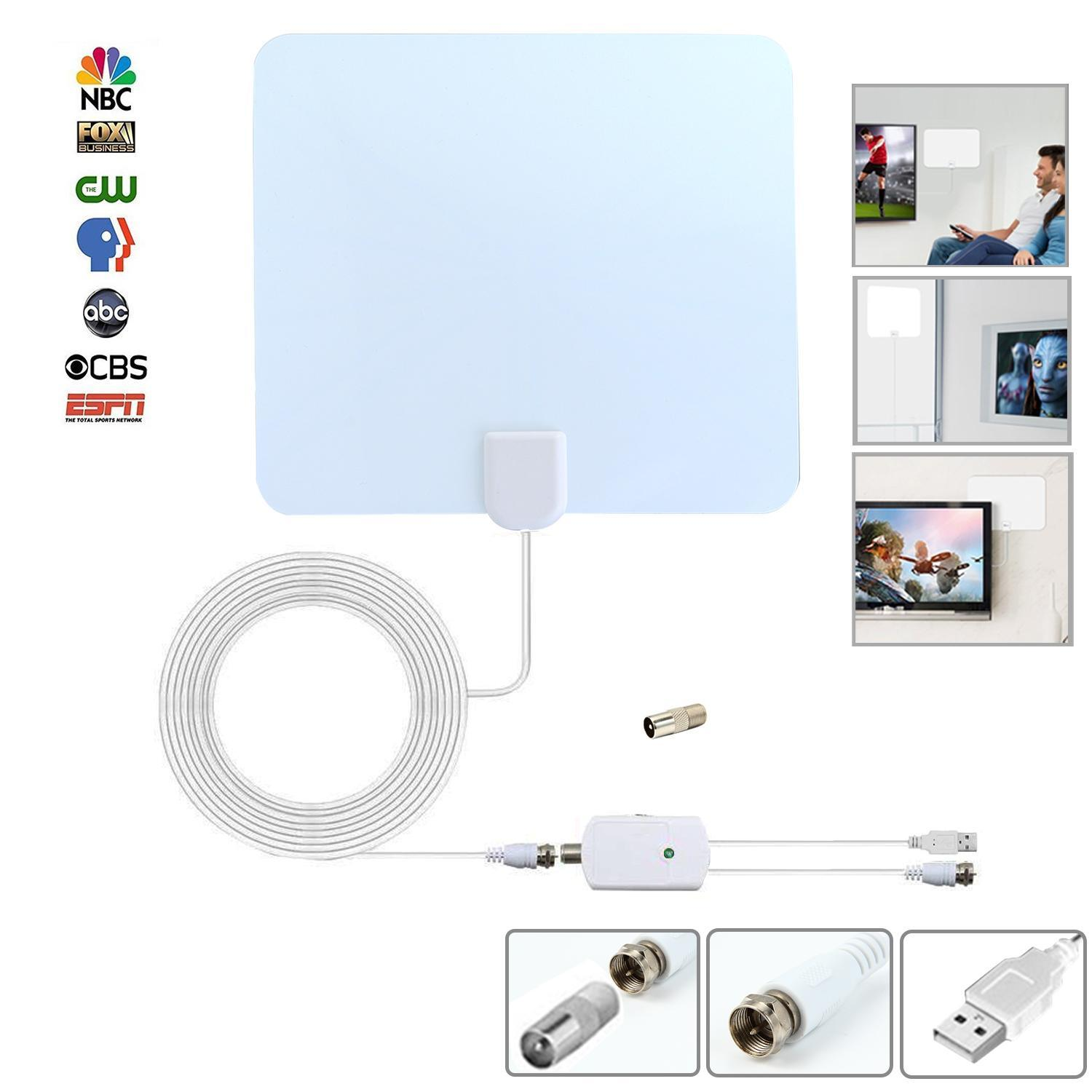 Price Comparisons Leegoal Universal Tv Antenna Indoor Digital Hdtv Antenna Amplified 75 Mile Range 4K Hd Vhf Uhf Freeview For Life Local Channels Broadcast For All Types Of Home Smart Television Intl