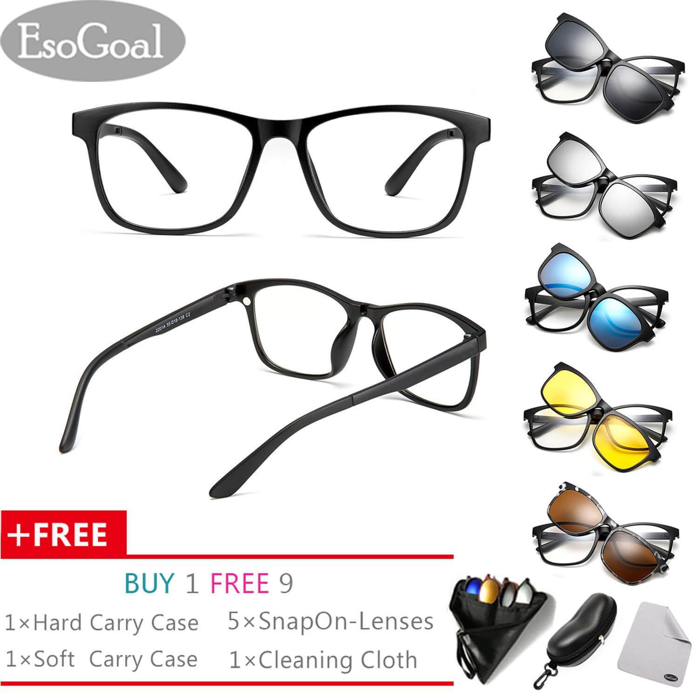 c72b99e6a58 EsoGoal Magnetic Sunglasses Clip On Glasses Unisex Polarized Lenses Retro  Frame with Set of 5 lenses