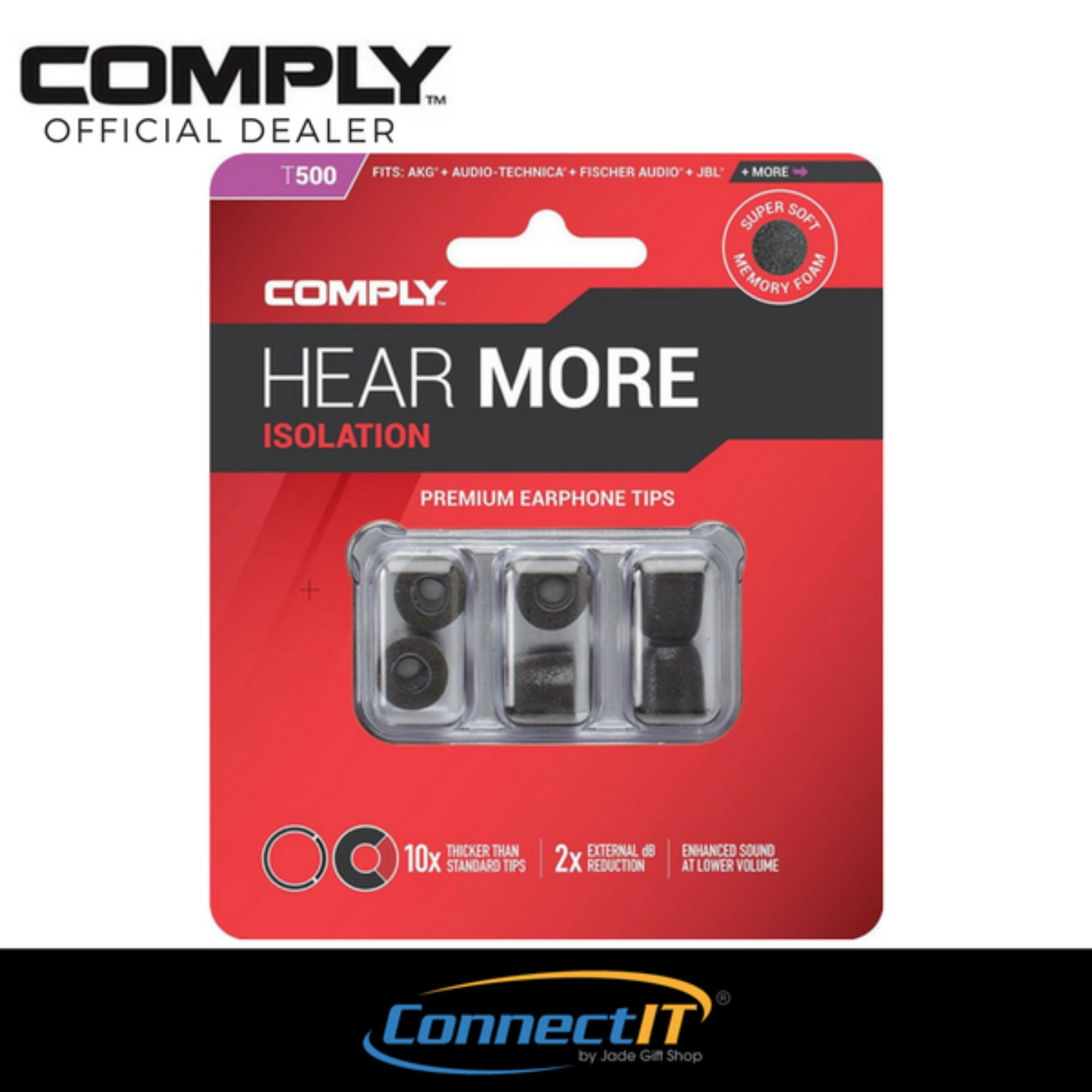 Price Comply T 500 Black 3 Pairs Noise Isolation Memory Foam Earphone Tips 3 Pairs Black Medium Size On Singapore