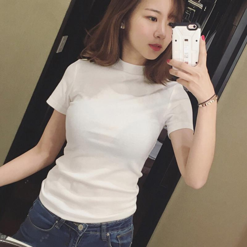 f8863f90e84 2019 New Style Summer Korean Style Mock-Neck Slim Fit Short Sleeve T-shirt