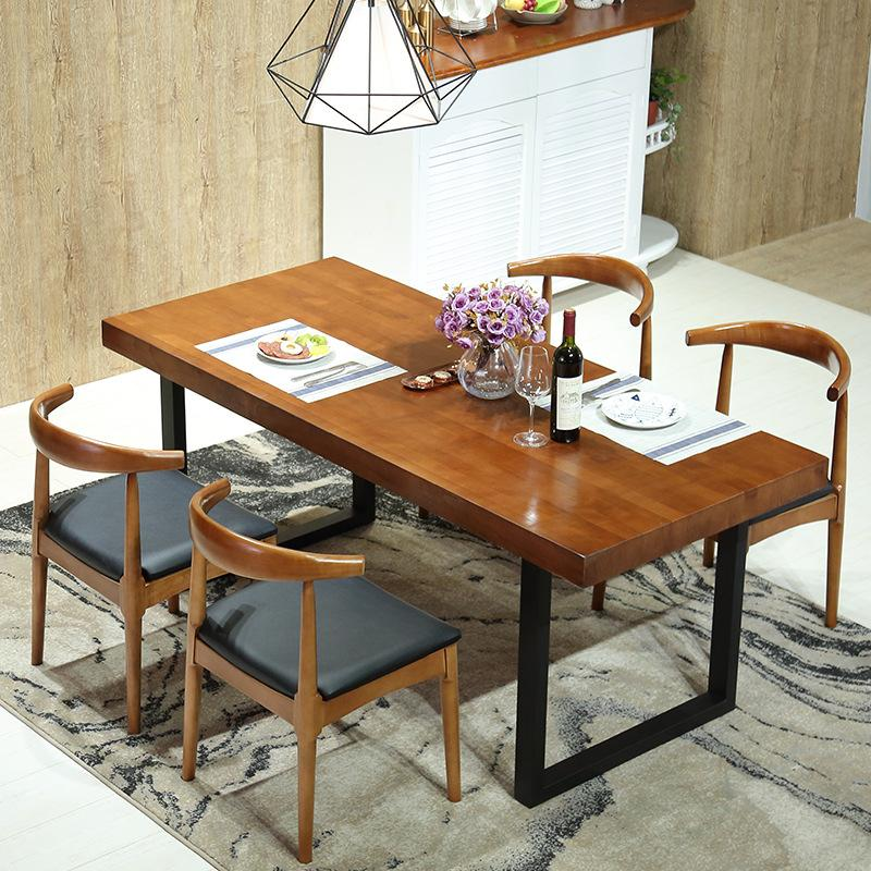 Small Apartment Home Dining Table Made of Solid Wood Iron Art Living Room Strip Dining Tables And Chairs Set American Village Dining Table in Dining Room
