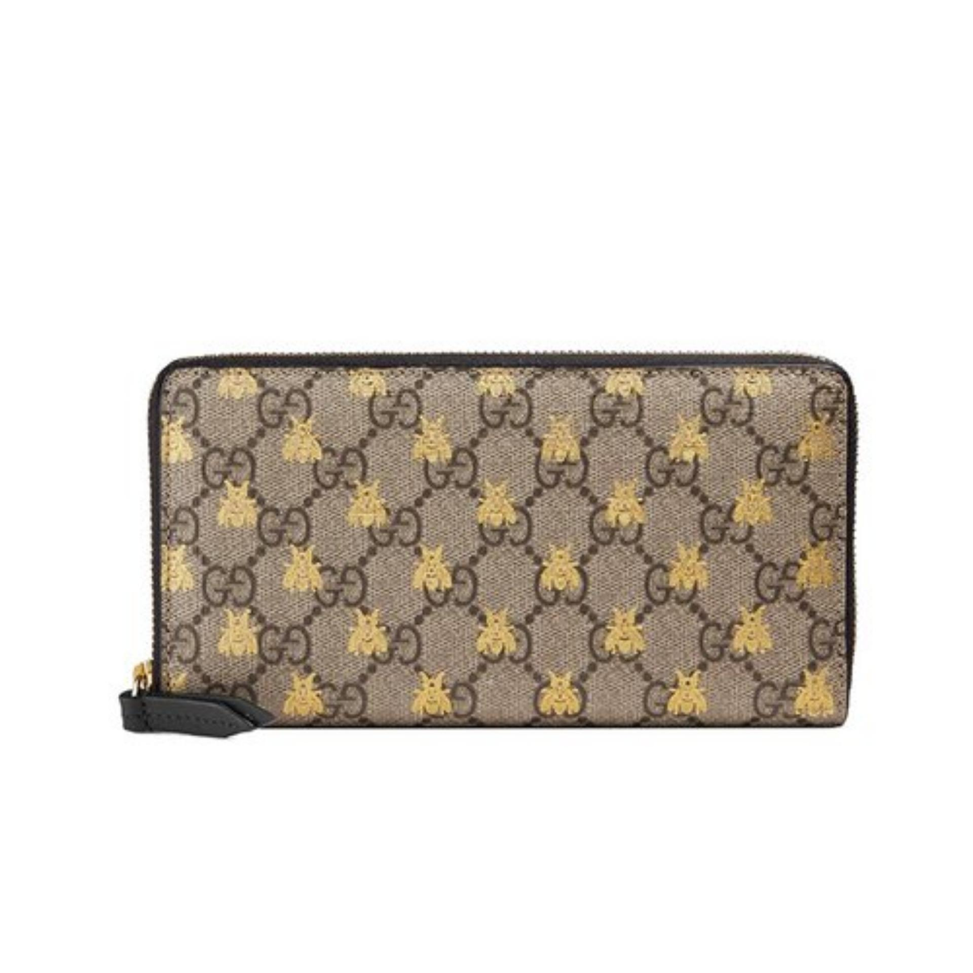 1e58ee5827a Gucci GG Supreme Bees Zip Around Wallet (Beige)   4101029F26G8319
