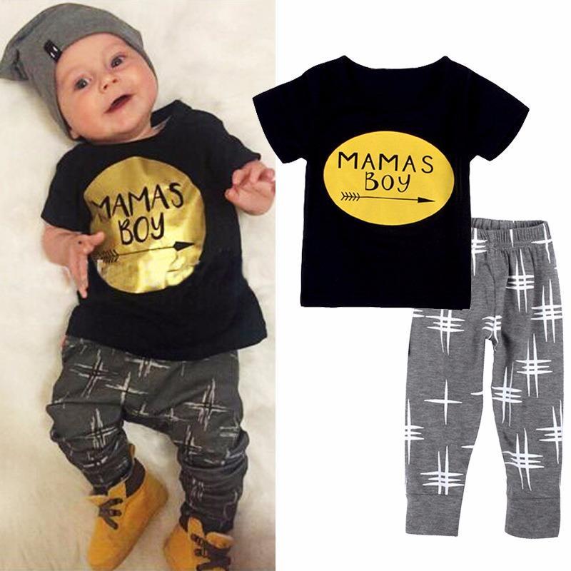 Wholesale 2018 Hot Sale New 2Pcs Newborn Toddler Infant Kids Baby Boy Clothes T Shirt Tops Pants Outfits Set