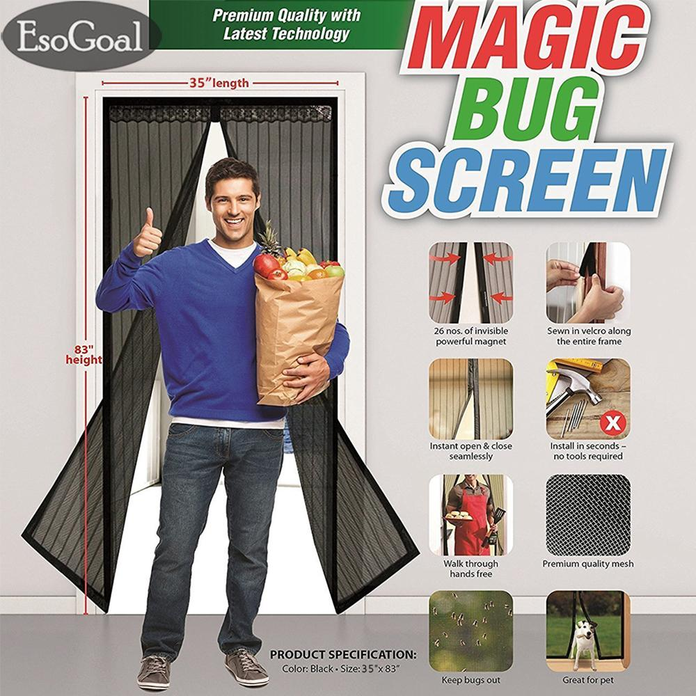 EsoGoal Magnetic Screen Door with Heavy Duty Mesh Curtain and Full Frame Velcro Keep Bugs Out,Let Fresh Air In.Screen Door Mesh Is Bulit Tough,Close Automaticlly (35 x 83 /90 x 210cm)