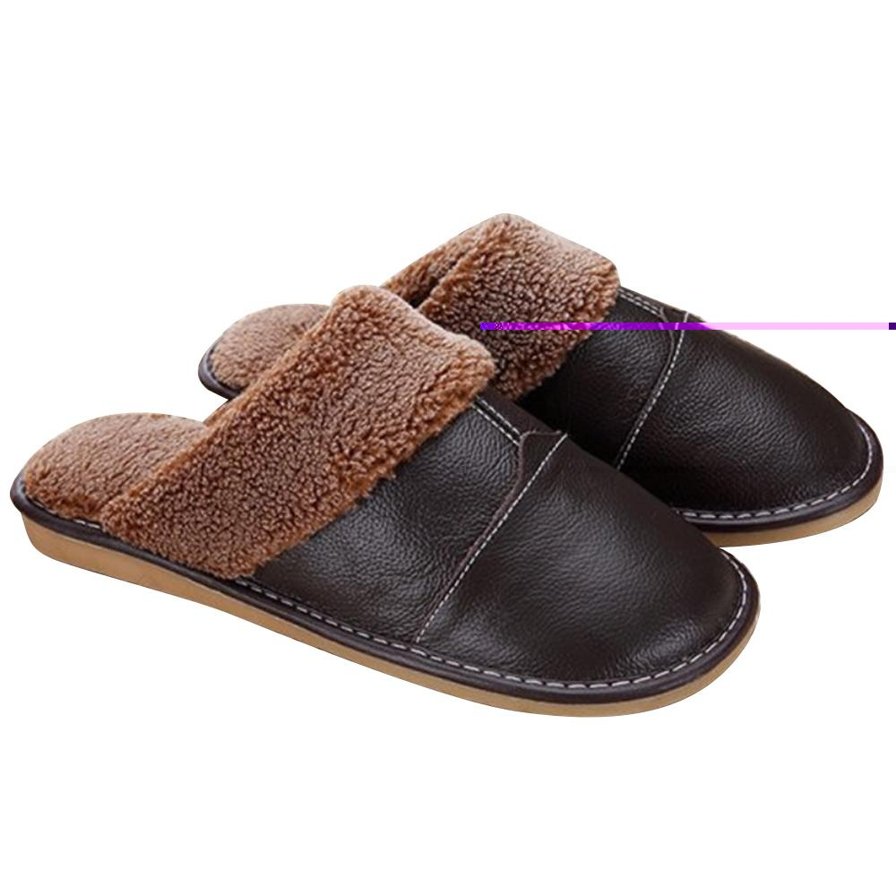 4e05487acbb0 1Pair Men Winter Warm Soft Anti-slip Genuine Leather Slippers for Bedroom  Living room Office