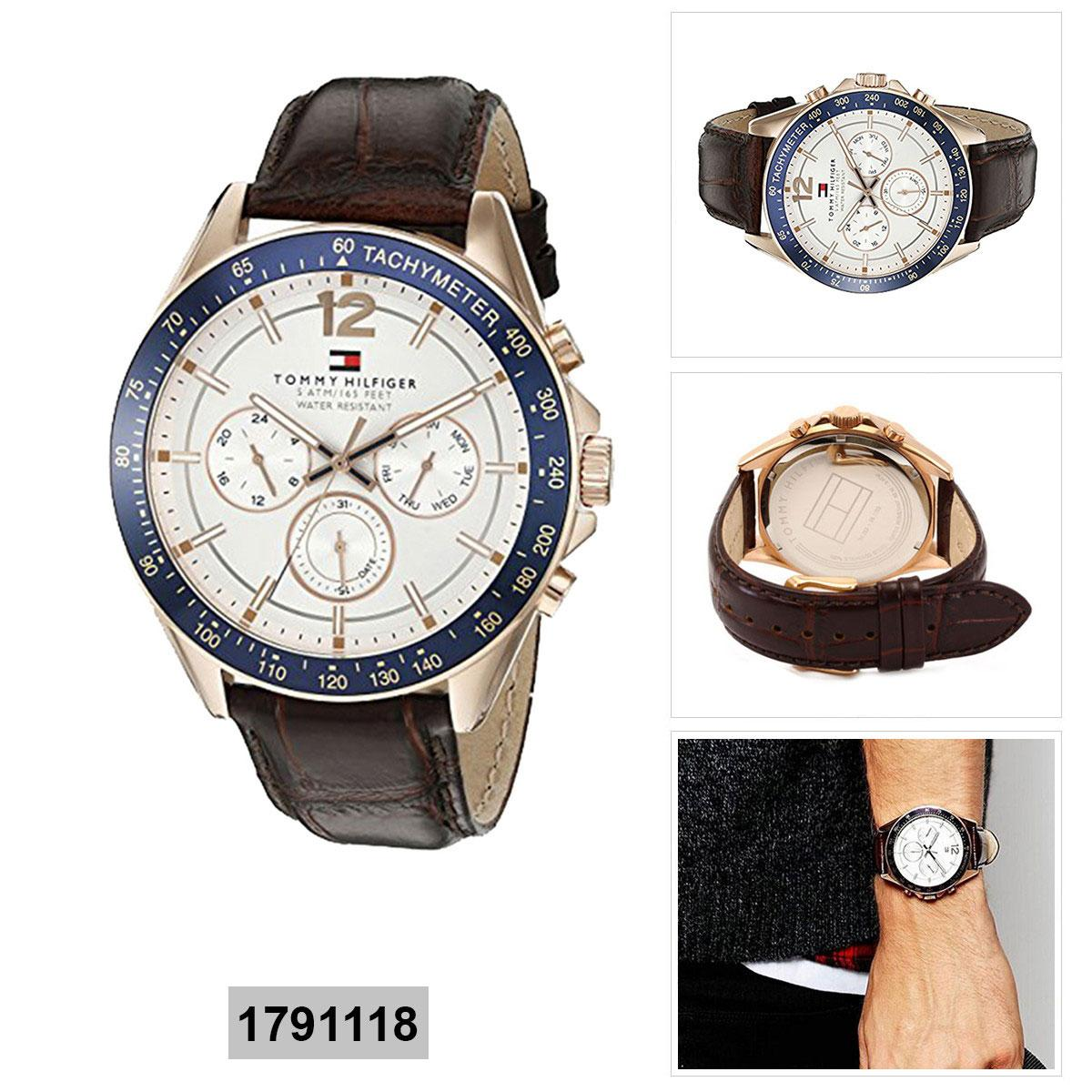 39368e098 Tommy Hilfiger Luke Brown Stainless-Steel Case Leather Strap Mens 1791118