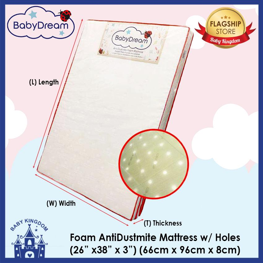 Babydream 3 Inch Antidustmite Mattress With Holes For Graco / Joie Playpen (26x38x3inch / 66x96x7.5cm) By Baby Kingdom.