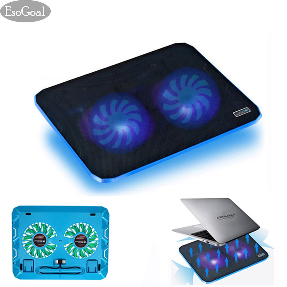 EsoGoal Laptop Cooling Pad, Ultra Slim Laptop Cooler Lightweight Chill Portable Notebook Mat with 2 Heavy Duty Fans USB Powered with LED Lights for 10 - 15 Notebook Computer