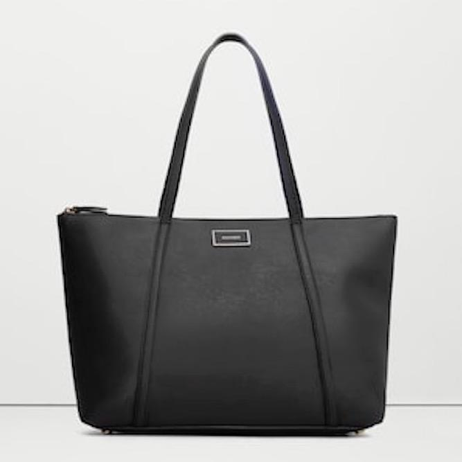 Buy Mng Mango Saffiano Faux Leather Large Minimalistic Shopper Work Tote Bag Online