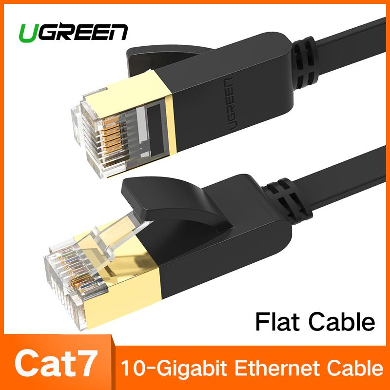 UGREEN 1Meter Flat Cat7 Ethernet Cable RJ 45 Network Cable UTP Lan Cable Cat 7 RJ45 Patch Cord for Router Laptop Cable Ethernet,Black-Flat Version